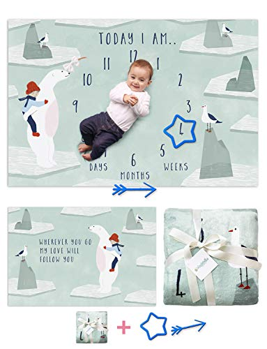 Double Sided Monthly Baby Milestone Blanket Unisex - Oversized 40x60 for Newborn Infants Picture Blanket | Baby Registry Must Haves | Ultra Soft Thick Fleece Photo Backdrop| | Polar Bear (Polar Bear Pictures)