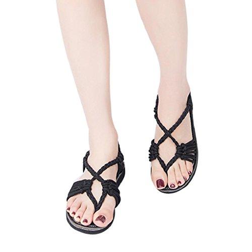 HGWXX7 Flat Sandals,Womens Summer Fashion Rope Large Size Flip Flops Beach Shoes(US-5.5/CN-38,Black)