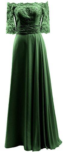 Macloth De L'épaule Moitié Manches Robe De Bal En Dentelle Mousseline Robe De Soirée Vert Foncé