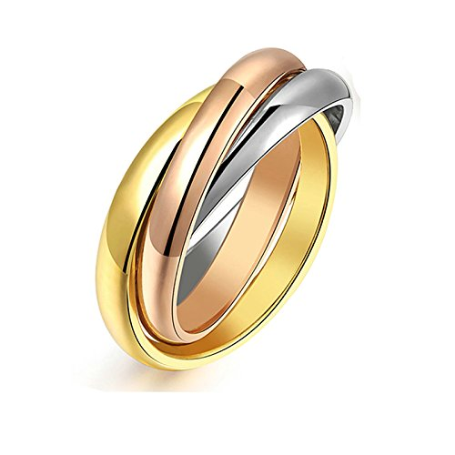 MoAndy 3 Triple Band Rolling Russian Wedding Band Gold Rose Gold Silver Color Size ()