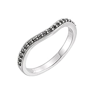 14k White Gold 1/4 CTW Diamond Curved Band - Size 7
