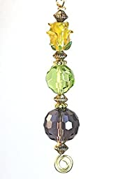 Amber Rose, Green, Purple Lampwork Glass Light or Ceiling Fan Pull