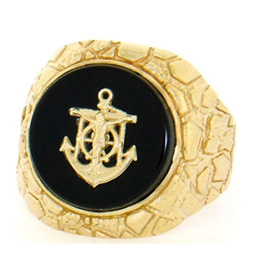 14k Solid Yellow Gold Nugget Anchor Oval Onyx Mens Ring (Style# 2086) - Size 7 14k Gold Oval Onyx Ring