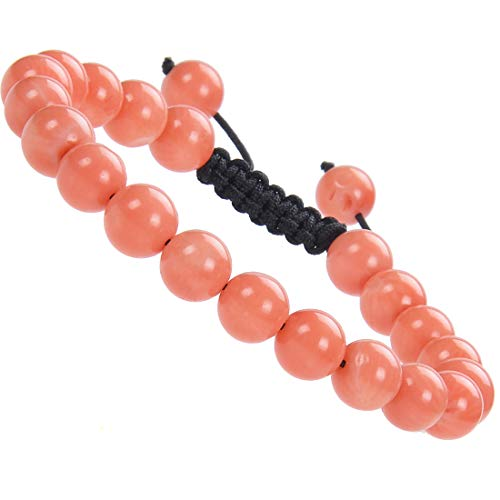Massive Beads Natural Healing Power Gemstone Crystal Beads Unisex Adjustable Macrame Bracelets (Coral ()
