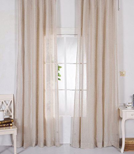 ASide BSide Linen Cotton Blended Sheer Curtains Transparent Voile Classic Japanese Style Window Treatments For Kitchen, Boy's room, Girl's Room (1 Panel, W52 x L63 inch, ()