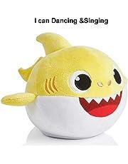 yuailiur Baby Shark Canto y Luz Juguetes de Peluche Muñeca de Felpa Suave de Tiburón Regalos y Juguetes para Niños Bebé de Dibujos Animados de Tiburón de Peluche de Juguete con 3 Colores
