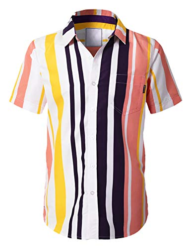 URBANCREWS Mens Hipster Hip Hop Casual Short Sleeve Button Down Striped Shirts Pink - ()