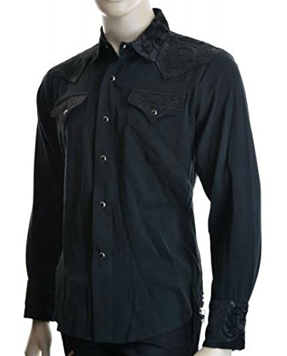Shrine Rocker Steampunk Cowboy Rodeo Western Wild West Black Tapestry Shirt (M) by Shrine