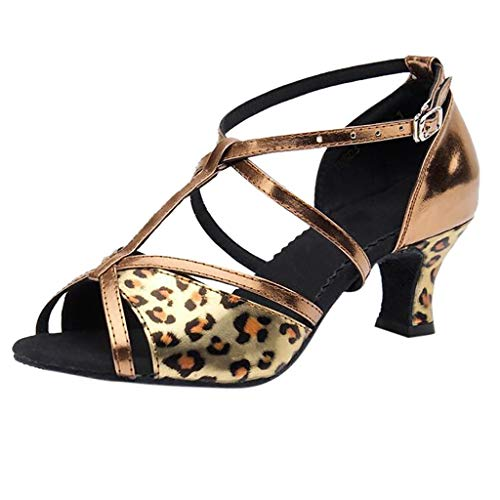 - Duseedik Women's Dance Shoes Rumba Waltz Prom Ballroom Latin Salsa Square Mid Heel Open Toe Spli On Sandals Brown