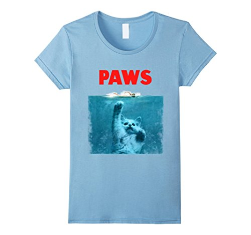 Women's Paws Kitten Meow Parody Funny Tshirt Cat Lover Gifts Small Baby Blue