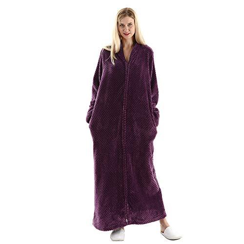 Womens Fleece Warm Robe,Cozy Fluffy Long Bathrobe,Plush Night Dressing Robes for Women Purple