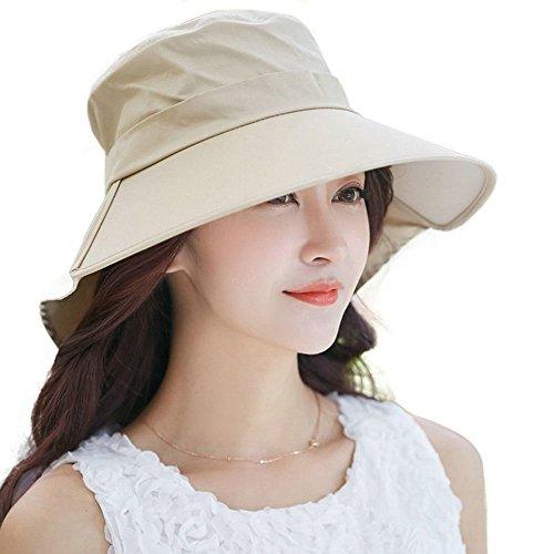 Uv Rays Shade - Siggi Women's Summer Bill Neck Flap Hat UPF 50+ Cotton Sun Cap with Large Brim Shade Khaki