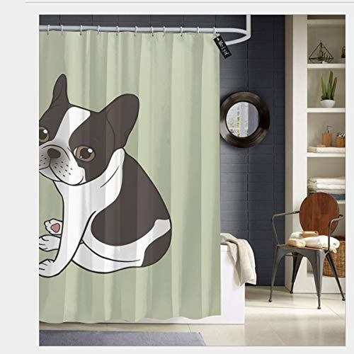 Say Hello to The Cute Double Hooded Pied French Bulldog Shower Curtains with 12 Hooks Bathroom Curtain 72