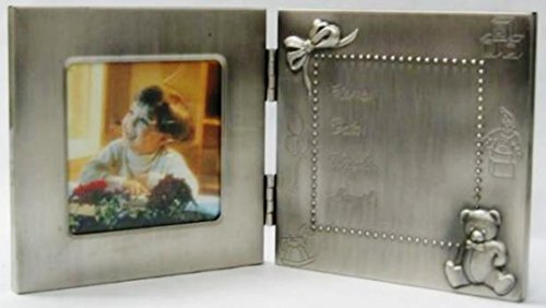 Heim Concept 80506 Elegance Pewter Birth Record Photo Frame, Silver