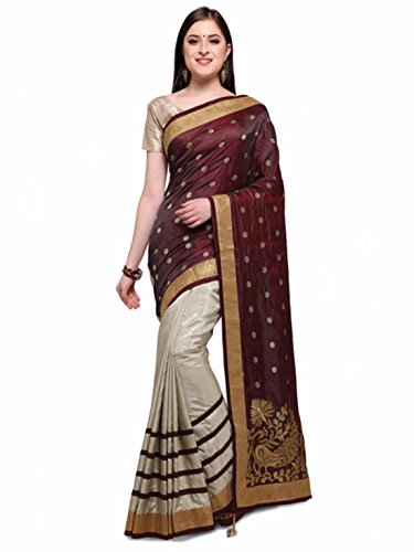 - Colors Burgundy & Off-White Art Silk Woven Design Saree