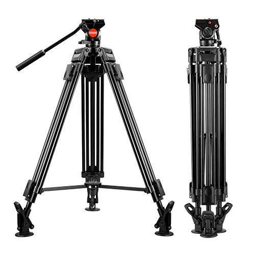 ESDDI VT-60 64 inch Video Tripod Professional Heavy Duty Aluminum Shooting Tripod with Fluid Head for DSLR Camcorder, Max Loading 17.6Lbs/8Kg, Weight 8.7 Lbs/3.95Kg