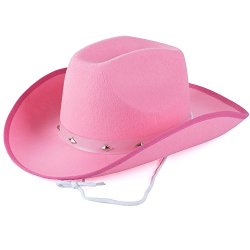 (Funny Party Hats Cowboy Hat - Studded Cowboy Hat - Cowboy Costume Accessories - Western Cowboy Hat (Pink Cowboy)