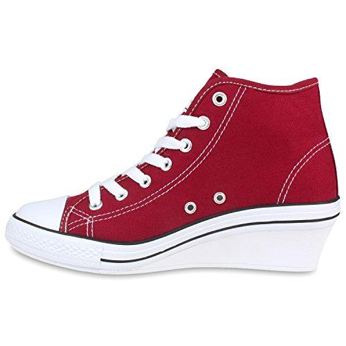 Stiefelparadies Damen Sneakers Stoff Sneaker Wedges Keilabsatz Schuhe Sportschuhe Freizeit Flandell Burgund