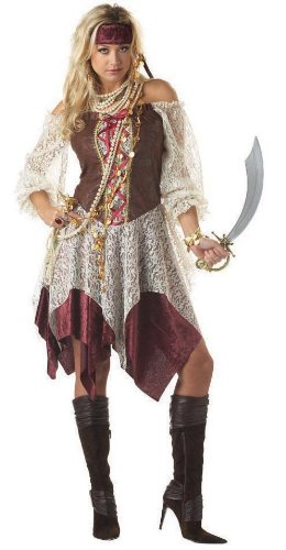 [South Seas Siren Costume - X-Large - Dress Size 12-14] (Scallywag Pirate Costume)