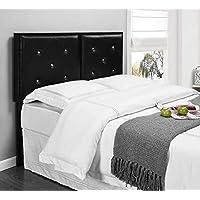 Kings Brand Furniture Metal Tufted Design Upholstered Headboard, Black, Full