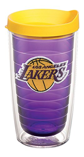 Tervis 1059006 NBA Los Angeles Lakers Primary Logo Tumbler with Emblem and Yellow Lid 16oz, Amethyst by Tervis