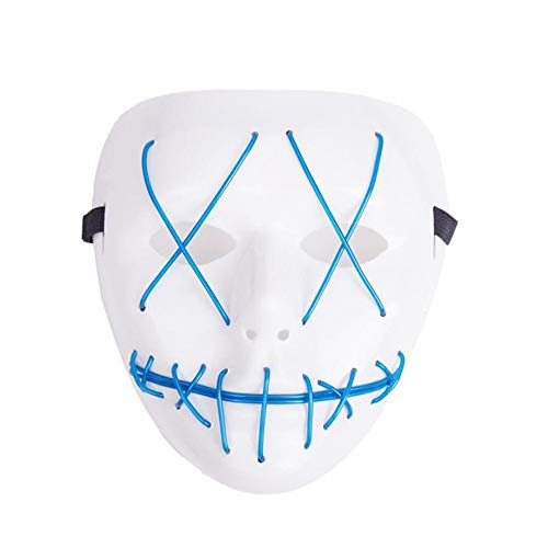 SOWU Halloween Mask, The Purge Movie EL Wire DJ Party Festival Halloween Costume LED Mask HQ New (Green) for $<!--$5.99-->