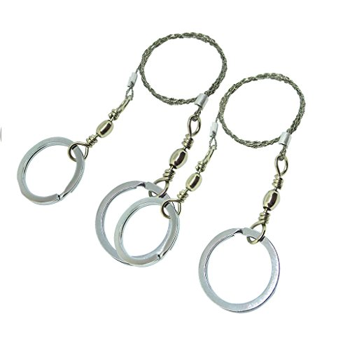 Faocean 2 packs Pocket Stainless Steel Wire Saw with Metal Finger Handle Ring for Emergency Surival Camping Tool Kits - Ring Saw