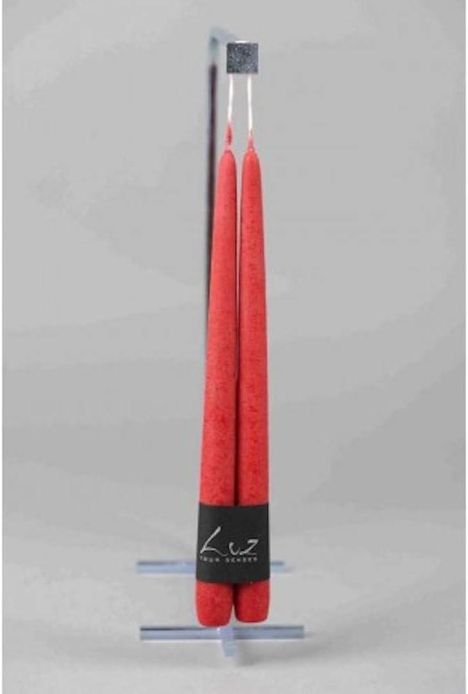 EaShiva Paire de Bougies de Table Velours Rouge /Ø2,2xL30cm