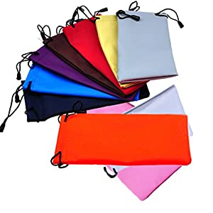 Freedi 10Pcs Drawstring Storage Pouch Bag for Sunglasses Eyeglasses Cell Phone Jewelry Coins Electronic Gadgets