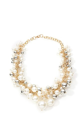 [Faux Pearl Cluster Necklace Choker Chain Lobster Clasp Statement Women Necklaces (yellow, golden,] (Tangled Costume Ideas)