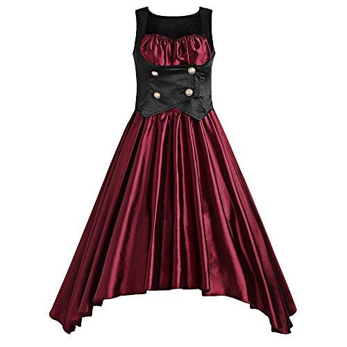 DRESSFO Red Vintage Dress Asymmetrical Lolita Corset Waist Vintage Dresses from DRESSFO