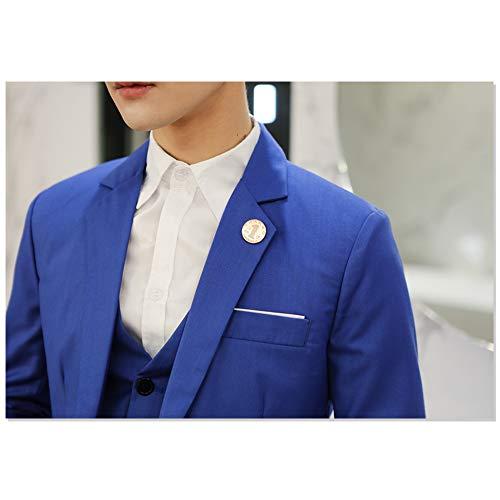 Blu UomoElegante Scuro Blazer A Fit Giacche Kindoyo Bottone Slim Un b1 Giacca Abito Da Casual bg6yYf7