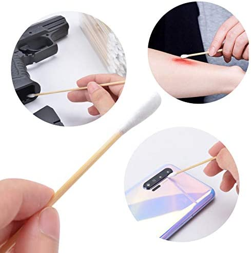 BOOSTEADY 6 Inch Cotton Gun Cleaning Swabs with Bamboo Handle in Storage Case(Choose Your Tip)
