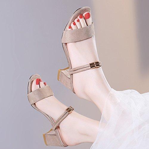 Jqdyl Tacones Nuevas Sandalias y Zapatillas de Mujer de Moda de Verano de Uso Doble de Espesor con The out of The Sandals, 39, Beige 39|Beige