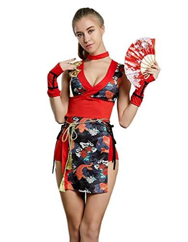 Women's Kimono Costume with Folding Hand Fan Japanese Geisha Ninja Assassin (L, Red Black(Fish -