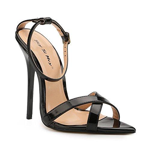 Comfort Alto Vestido De Stiletto yc Pu Mujer Para Boda Noche Summer Tacón Sandalias Fiesta L Black Y xIF8F