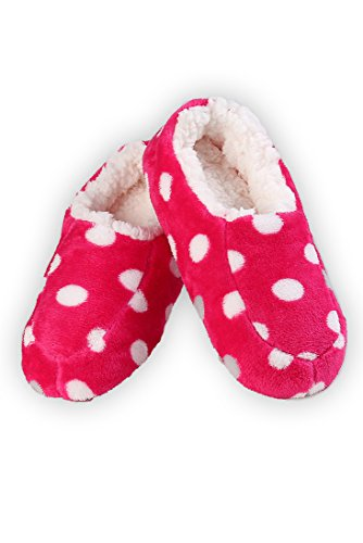 Iconoflash Kvinners Polka Dot Slip-on Stil Tøfler Med Faux Shearling Fôr Hot Pink