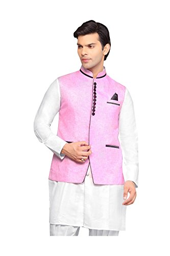Indian Mens Jacket Wedding Designer Party Wear Pink Linen Waist Coat. by PinkCityCreations