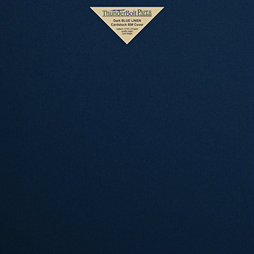 "25 Dark Navy Blue Linen 80# Cover Paper Sheets - 12"" X 12"" (12X12 Inches) Scrapbook Album