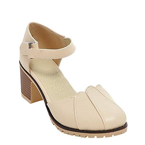 MissSaSa Damen Knöchelriemchen runde Spitze Pumps mit Blockabsatz Beige