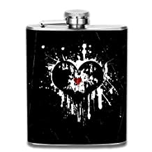 3D Print Black Heart Hip Flasks Jacket Pocket Flask Modern,Sophisticated,Discreet Alcohol Flask,Sleek Canteens That Hold Whiskey,Rum,Scotch,Vodka 7 0z of Liquor
