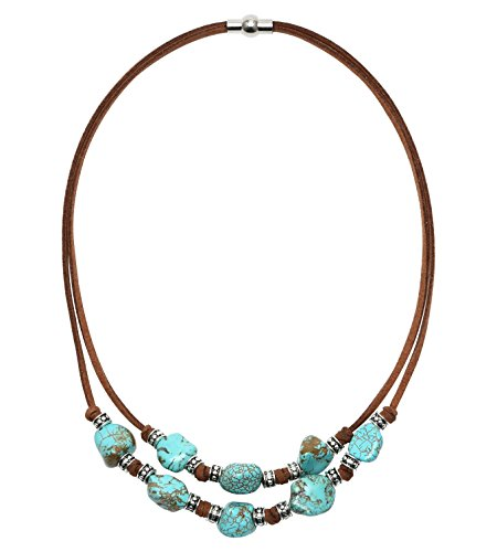 Yunhan 2 Strands Turquoise Choker Necklace with Genuine Brown Suede Cord Jewelry for Women 16''
