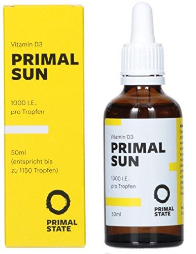 Vitamin D Tropfen PRIMAL SUN (1000 I.E. pro Tropfen - In Kokosöl gelöst - Zertifiziertes Vitamin D3) - 50ml