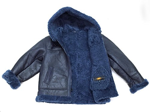 Kids B-3 Genuine Shearling Leather Bomber Jacket Winter Aviator Coat Real Fur Hood (Size 6, Navy/Fur) by Jakewood (Image #3)
