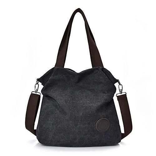 Simple lug Womens Bag Messenger Casual Black Canvas Large Multilayer Hand Capacity Handbag Nlj Shoulder Bag nIdCCq