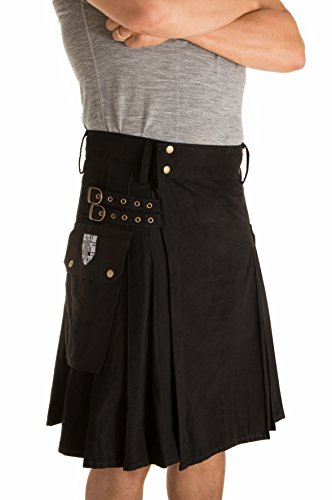 Damn Near Kilt 'Em Men's Greenhorn Utility Kilt Large Black
