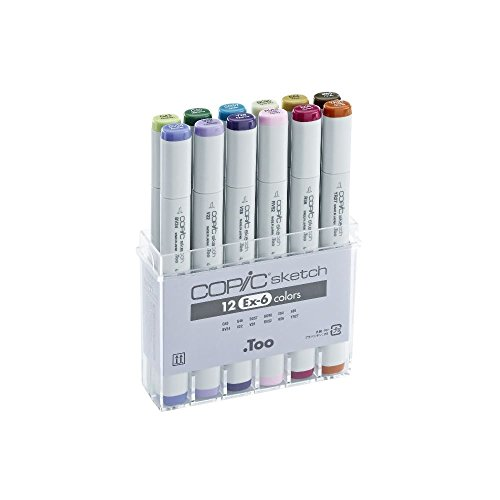 Copic Markers 12-Piece Sketch EX-6 Set by Copic Marker by Copic Marker