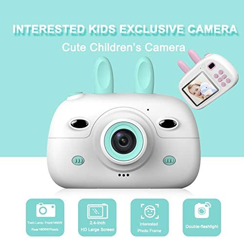 HENGTONGTONGXUN Children Mini Camera 2.4inch Screen Display 18MP Front Rear Dual Cameras Kids Camera Digital Video Photo Camera Child Best Gift Easy to use Bundle : Standard, Color : Blue