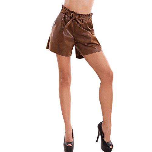 Fiocco Donna Cr Vita 2483 Toocool Shorts Marrone Elastico Ecopelle Alta Ampi Pantaloncini Nuovi 4xWfFwq85
