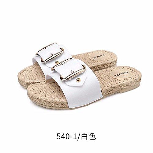 LIUXINDA-XZ Nuevos Productos de Moda española Playa de Las Mujeres Zapatos Blanco